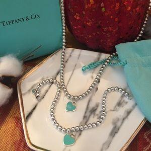 Tiffany & Co Heart tag bead necklace& bracelet